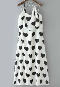 White Spaghetti Strap Hearts Print Chiffon Dress