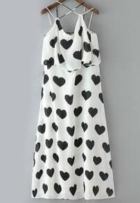 White Spaghetti Strap Hearts Print Chiffon Dress