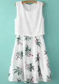 White Sleeveless Leaves Print Pleated Dress