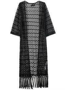 Black Hollow Lace Tassel Kimono