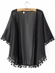 Black Short Sleeve Tassel Chiffon Kimono