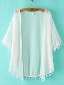 White Short Sleeve Tassel Chiffon Kimono