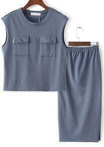 Blue Sleeveless Pockets Top With Elastic Waist Skirt
