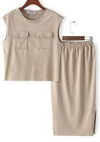 Khaki Sleeveless Pockets Top With Elastic Waist Skirt