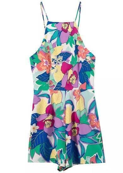 Multicolor Spaghetti Strap Floral Slim Jumpsuit