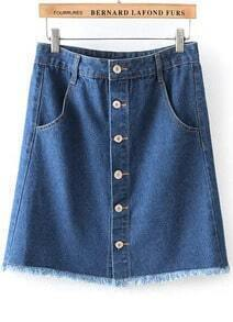 Blue High Waist Buttons Fringe Denim Skirt