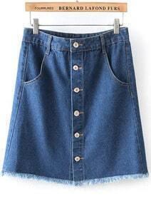 Blue High Waist Buttons Fringe Denim Skirt