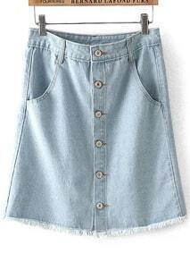 Light Blue High Waist Buttons Fringe Denim Skirt
