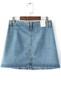 Blue Buttons Pockets Denim Skirt
