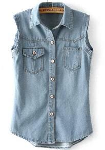 Light Blue Lapel Sleeveless Pockets Denim Vest