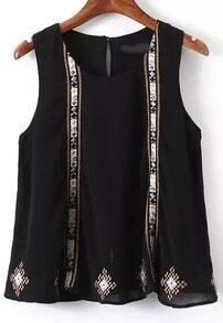 Black Round Neck Embroidered Chiffon Tank Top