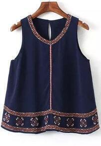 Navy Round Neck Embroidered Chiffon Tank Top