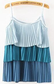 Blue Cascading Ruffle Spaghetti Strap Pleated Cami Top