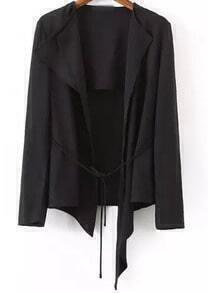 Black Casual Tie-waist Asymmetrical Blazer