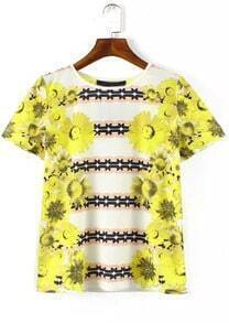 White Short Sleeve Sunflowers Print T-Shirt