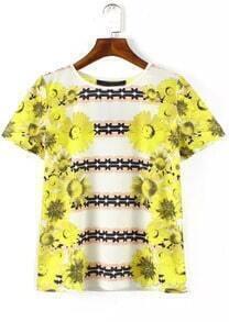 White Short Sleeve Sunflowers Print T-Shirt