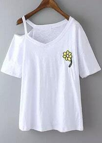 White One-shoulder Embroidered Loose T-Shirt