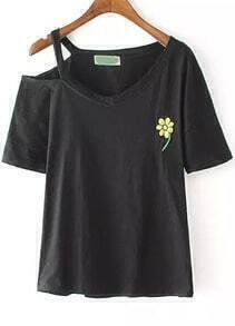 Black One-shoulder Embroidered Loose T-Shirt