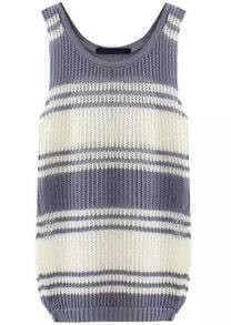 Grey White Scoop Neck Striped Knit Sweater