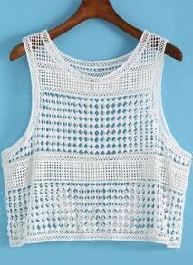 White Round Neck Hollow Crop Tank Top