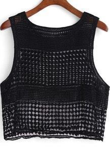 Black Round Neck Hollow Crop Tank Top