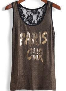 Gold Scoop Neck Lace Back PARIS Print Tank Top