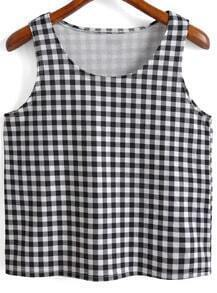 Black White Round Neck Plaid Crop Tank Top