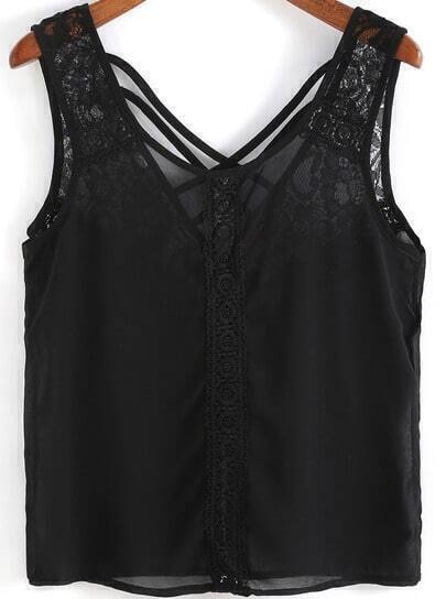 Black Lace Cross Back Chiffon Tank Top