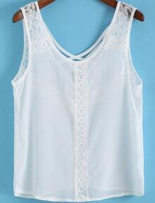 White Lace Cross Back Chiffon Tank Top