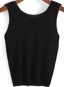 Black Round Neck Knit Slim Tank Top