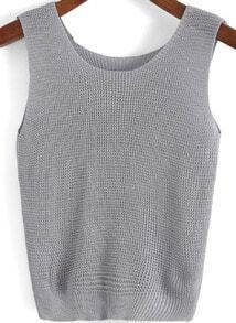 Grey Round Neck Knit Slim Tank Top