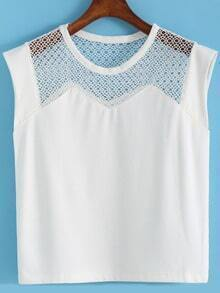 White Round Neck Hollow Mesh Tank Top