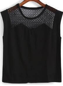 Black Round Neck Hollow Mesh Tank Top