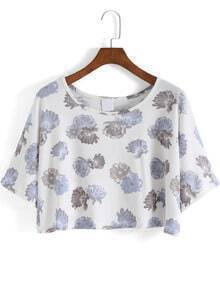 White Round Neck Blue Floral Crop T-Shirt