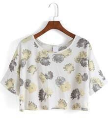 White Round Neck Yellow Floral Crop T-Shirt