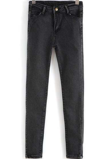 Black Pockets Skinny Denim Pant