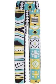 Multicolor Geometric Print Loose Pant