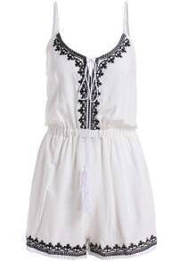 White Spaghetti Strap Embroidered Jumpsuit