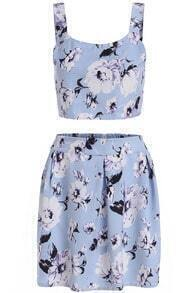 Blue Spaghetti Strap Floral Crop Top With Skirt