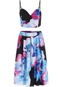 Blue Black Spaghetti Strap Floral Crop Top With Skirt