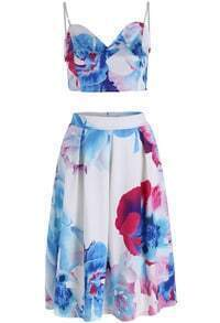 Blue White Spaghetti Strap Floral Crop Top With Skirt