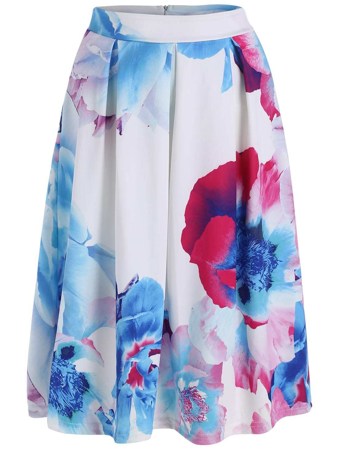 blue white spaghetti floral crop top with skirt