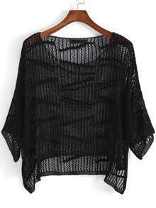 Black Round Neck Hollow Dip Hem Knitwear