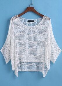 White Round Neck Hollow Dip Hem Knitwear
