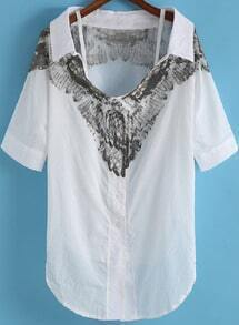 White Off the Shoulder Wing Print Blouse