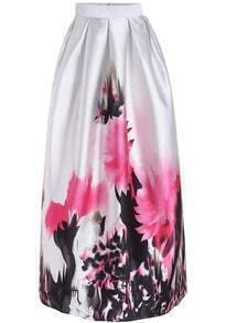 White High Waist Floral Long Skirt