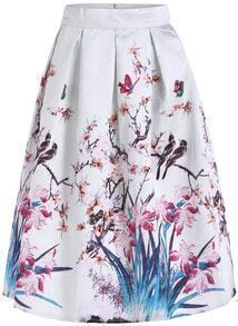 White High Waist Floral Flare Long Skirt