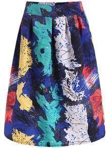 Multicolor Elastic Waist Floral Flare Skirt