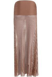 Coffee Hollow Grid Long Skirt