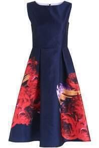 Blue Sleeveless Floral Flare A Line Dress